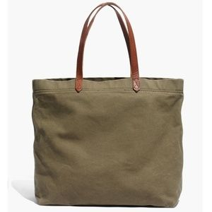 Madewell Olive Green Canvas Tote w/ Leather Straps